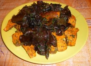 Patates douces aux champignons noirs