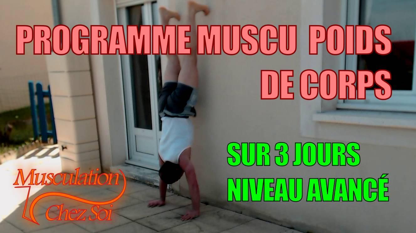 Programme musculation force chez soi sur 3 jours