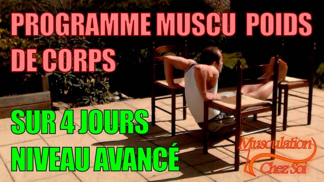 Programme musculation force chez soi sur 4 jours